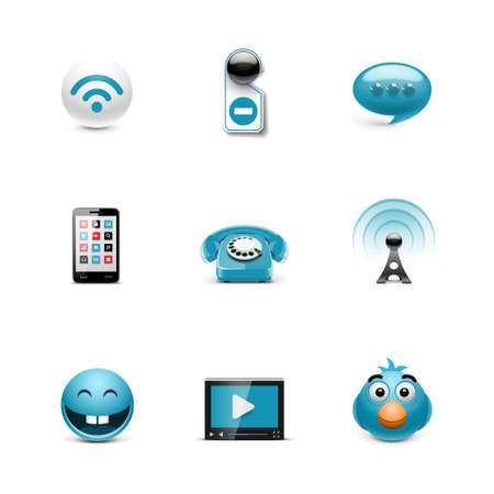 Social icons  Azzurro series Stock Vector - 17716826