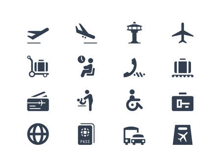 handicap sign: Iconos del aeropuerto Vectores