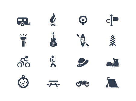 outdoor fire: Camping icons