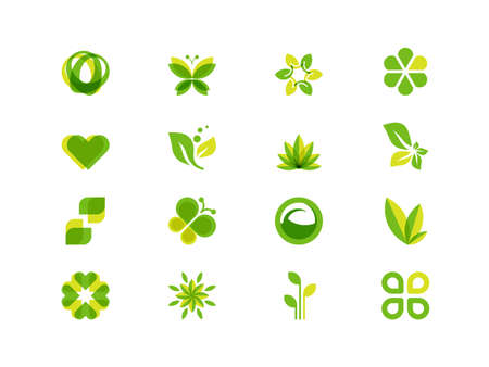 silhouette papillon: feuilles d'écologie et de symboles Illustration