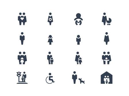 silla de ruedas: Iconos de la familia Vectores