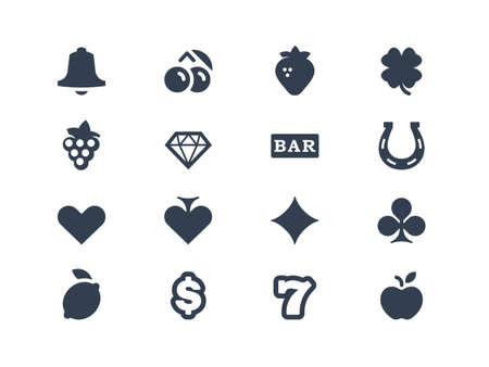 lucky: Gambling and slot machine icons Illustration