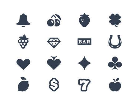 Gambling and slot machine icons Vettoriali