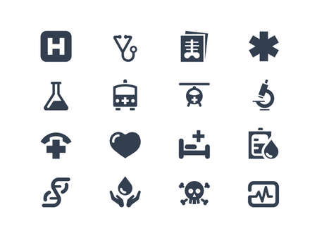 cardiac care: Medical and healthcare icons