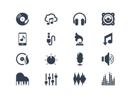 Muziek iconen Stock Illustratie