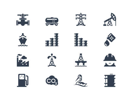 Oil industry icons Vettoriali