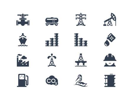 Olie-industrie iconen Vector Illustratie