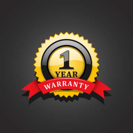 One year warranty emblem Çizim