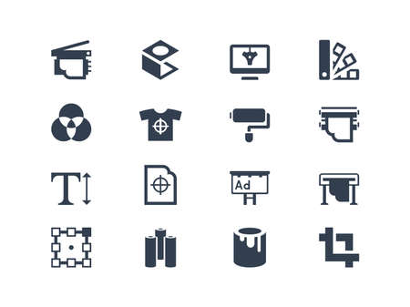 paper graphic: Printing icons Illustration