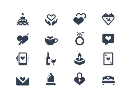 day bed:  Valentine icons Illustration