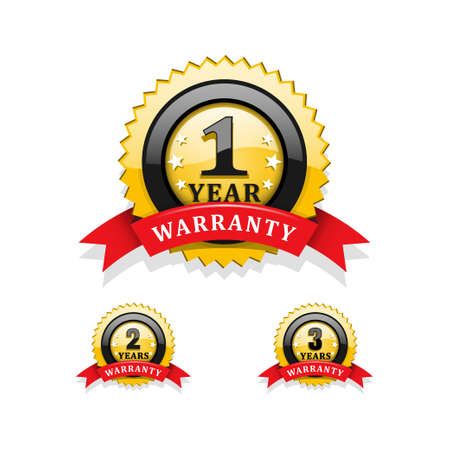 one year: Warranty emblems vector Illustration