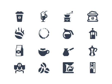 french bean: Coffee  icons Illustration