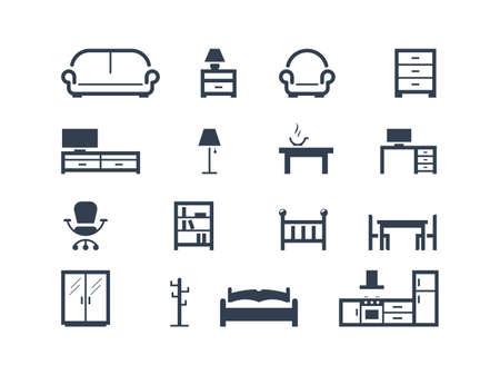 Iconos de muebles  Ilustración de vector
