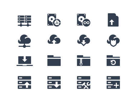 data center: Hosting icons Illustration
