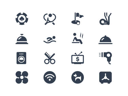 Hotel services icons Vector