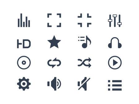 mute: Media player icons Illustration