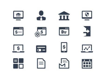 Iconos de la banca en línea Ilustración de vector