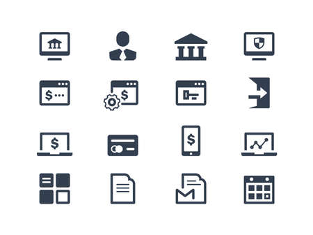 account statements: Online banking icons