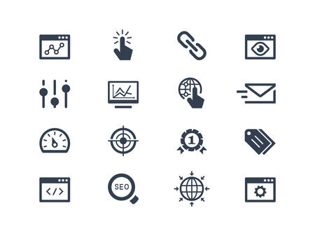 seo: Seo and optimization icons set Illustration