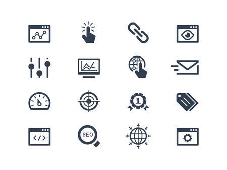Seo and optimization icons set Vettoriali