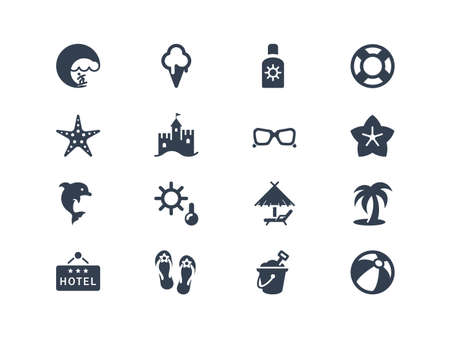 Summer and beach icons 일러스트
