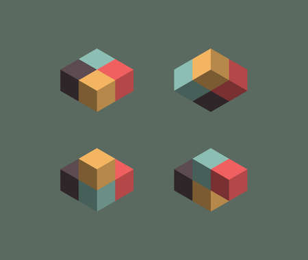 Isometric cube illusions Vector