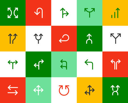 Arrows and directional signs. Flat icons set Vector
