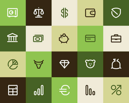 signos de pesos: Banca y Finanzas iconos. Serie Flat Vectores