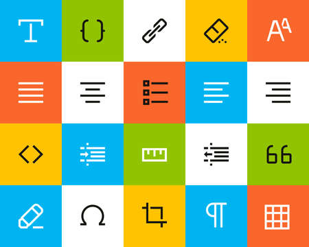 Formatting and editing icons. Flat series Vector