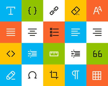 Formatting and editing icons. Flat series Illustration