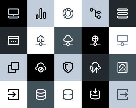 cloud hosting: Hosting and wireless network icons. Flat series