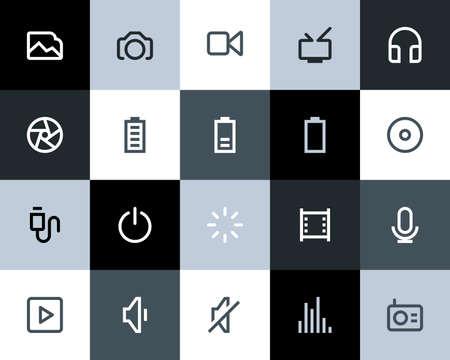 Multimedia icons set  Flat series Vector