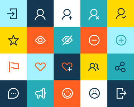 Social and communication icons. Flat series Vector
