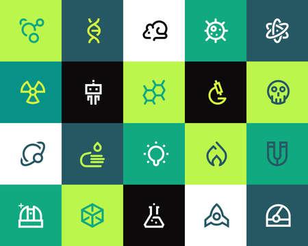 atomo: Iconos de la ciencia establecidos. Serie Flat Vectores