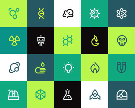 molecule icon: Science icons set. Flat series