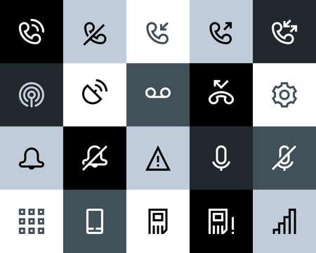 call log: Telephone and call logs icons. Flat series
