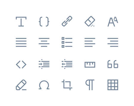 Editing and formatting icons set. Line series