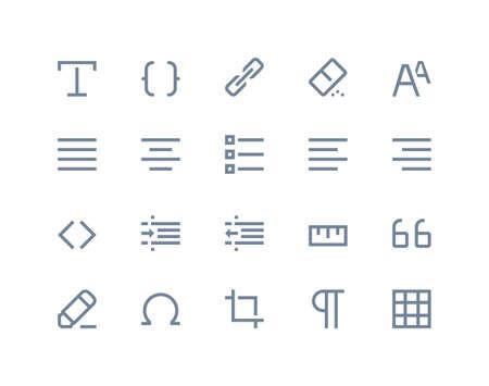 formatting: Editing and formatting icons set. Line series