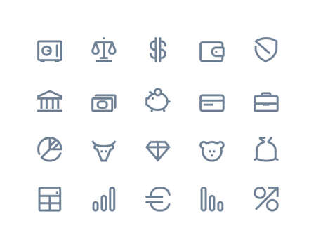 Finance and bank icons set. Line series Vector