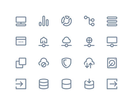 Hosting and wireless network icons set. Line series Vector