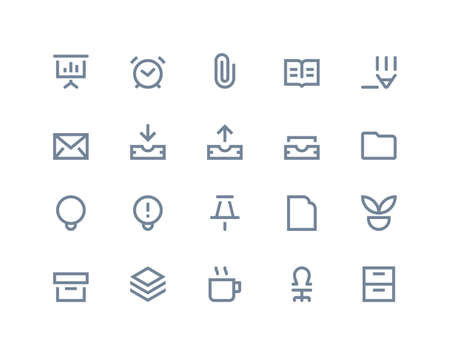 Office icons set. Line series