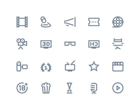 multimedia pictogram: Movie industry icons set. Line series