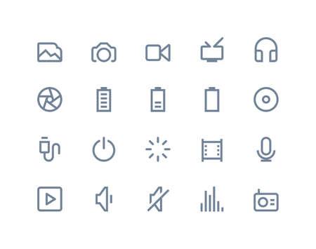 Multimedia icons set. Line series Vector
