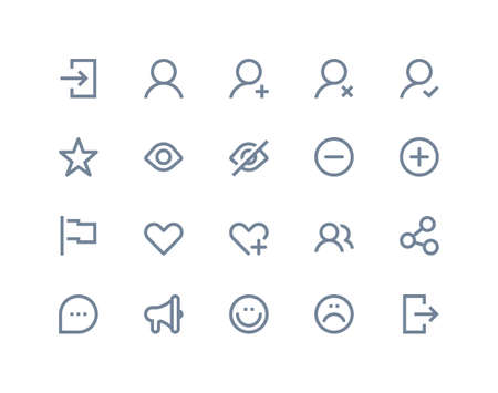 Social and communication icons set. Line series