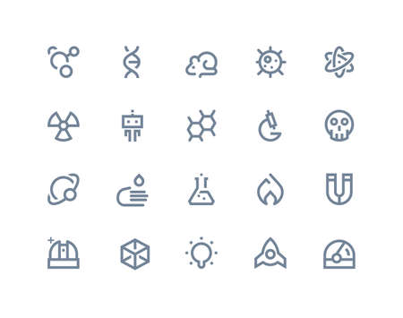 Science icons set. Line series Vector