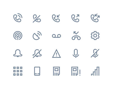call log: Phone logs icons set. Line series Illustration