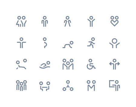 People icons set. Line series Vector