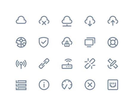wireless network: Iconos de la red inal�mbrica configurada. Series Line Vectores