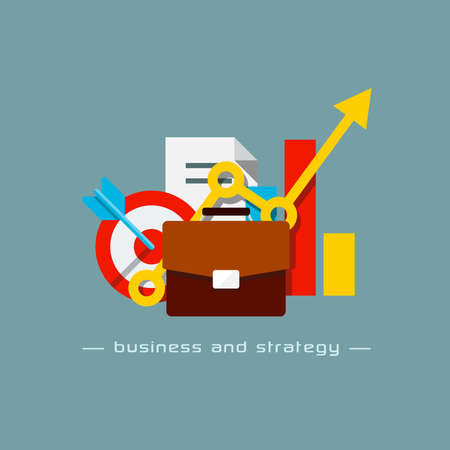 Illustration of business and strategy flat concept Vector