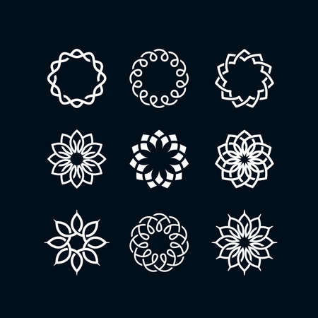 abstract flowers: 9 Flower symbols on a dark background Illustration